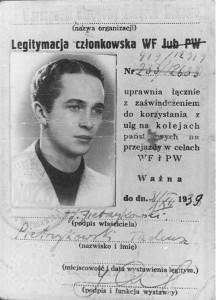 Legitymacja studencka Tadeusza Pietrzykowskiego
