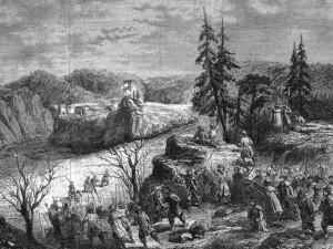 Zajęcie Ojcowa przez oddział Ignacego Bobrskiego. Ilustracja z 1863 r.