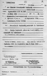 Akt zgonu księdza Franciszka Paciorka