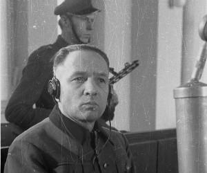 Rudolf Hőss podczas pocesu w Warszawie