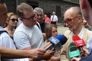 Jerzy Bogusz (nr obozowy 61), Muzeum Auschwitz-Birkenau, 14 czerwca 2015 r. Fot. Adam Cyra