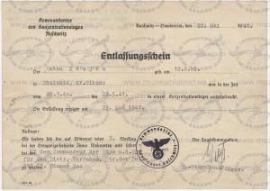 Zwolnienie Antoniego Kocjana z KL Auschwitz 22.05.1941 r.
