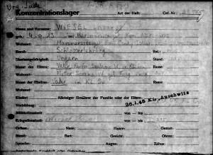 Karta personalna więźnia Lazara Wiesela, nr A-7713