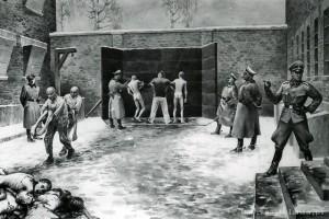 Egzekucja pod Ścianą Straceń na dziedzińcu bloku nr 11, obraz byłego więźnia Władysława-Siwka