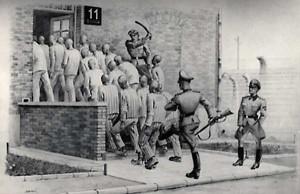 Wpędzanie skazanych na rozstrzelanie do bloku nr 11, obraz b. więźnia Władysława Siwka