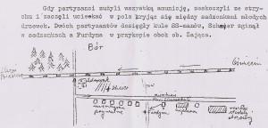 Szkic z zaznaczonym omem Zdrowaków w Budach-Borze
