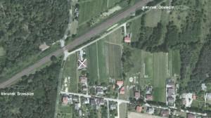 Przebudowany dom należący kiedyś do rodziny Zdrowaków (zaznaczony X)