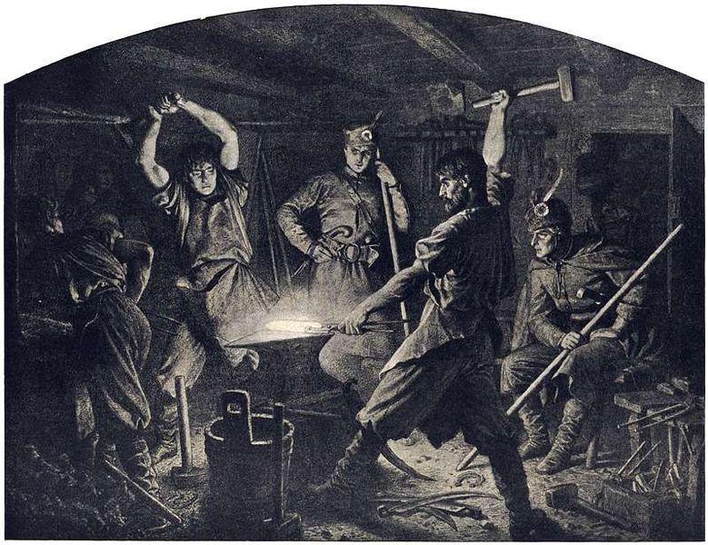 Kucie kos 1863 r., obraz Artura Grottgera