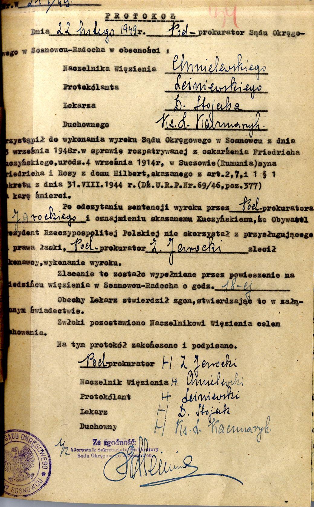 Protokół wykonania wyroku z akt sądowych Friedricha Kuczynskiego
