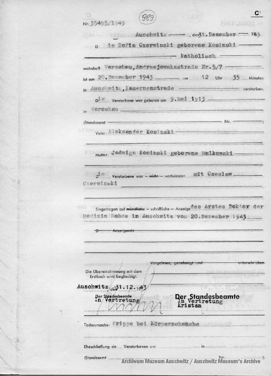 Obozowy akt zgonu Zofii Czerwińskiej (1913-1943)