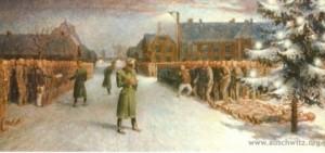 """""""Wigilia Bożego Narodzenia w 1940 roku"""", obraz b. więźnia Władysława Siwka"""